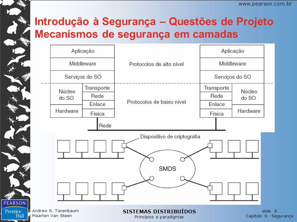 SISTEMAS DISTRIBUÍDOS Princípios e paradigmas slide 8 Capítulo 9 - Segurança www.pearson.com.br Andrew S. Tanenbaum Maarten Van Steen Introdução à Seg