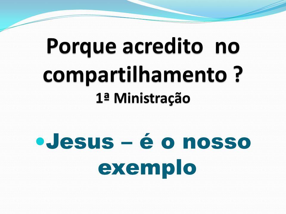 1ª Ministração Jesus – é o nosso exemplo 1ª Ministração Tomou a iniciativa.