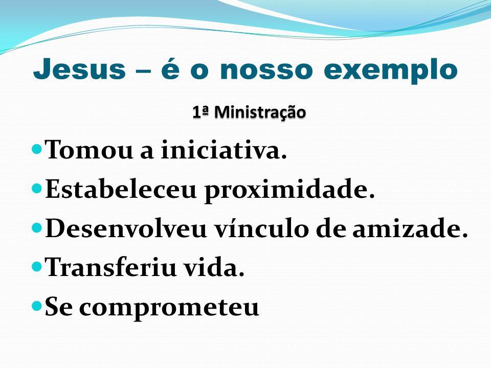 1ª Ministração Jesus – é o nosso exemplo 1ª Ministração Tomou a iniciativa. Estabeleceu proximidade. Desenvolveu vínculo de amizade. Transferiu vida.