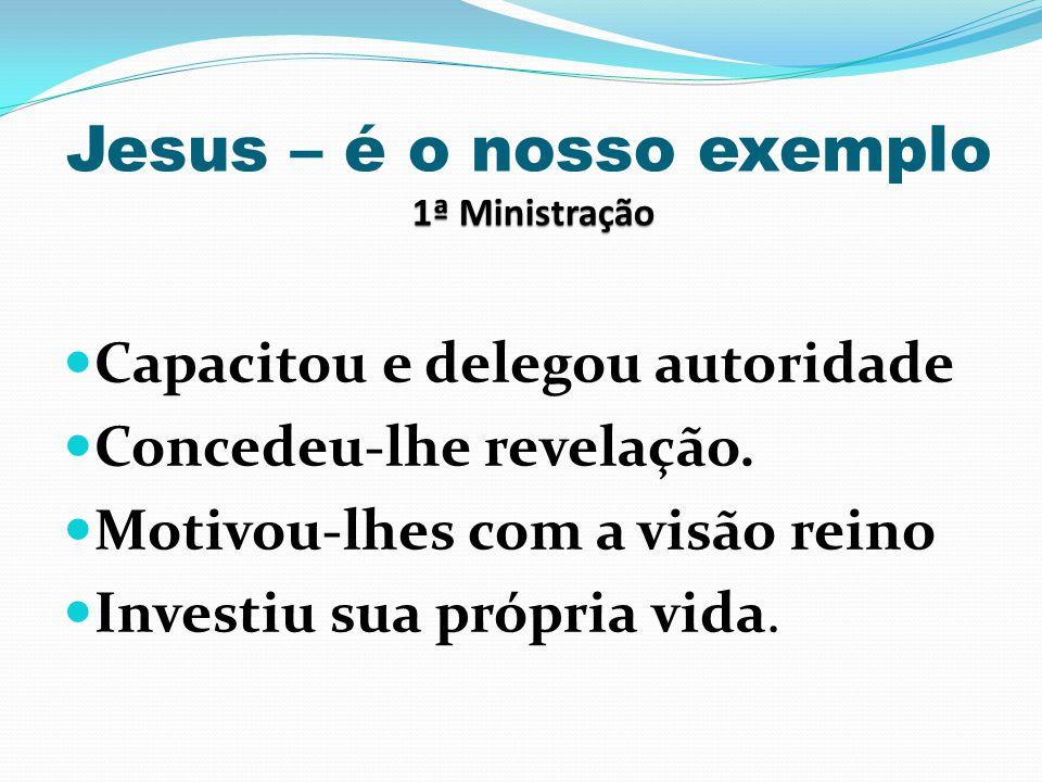 1ª Ministração Jesus – é o nosso exemplo 1ª Ministração Capacitou e delegou autoridade Concedeu-lhe revelação. Motivou-lhes com a visão reino Investiu