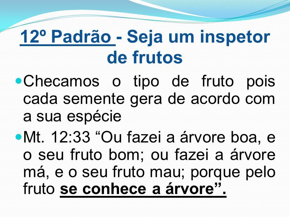 """12º Padrão - Seja um inspetor de frutos Checamos o tipo de fruto pois cada semente gera de acordo com a sua espécie Mt. 12:33 """"Ou fazei a árvore boa,"""