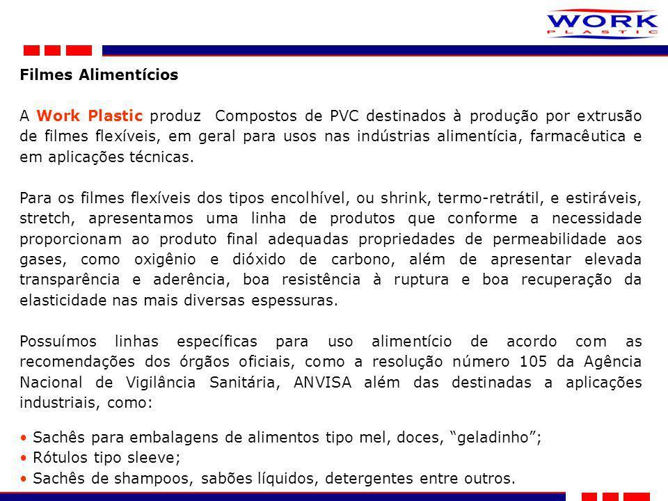 Filmes Alimentícios A Work Plastic produz Compostos de PVC destinados à produção por extrusão de filmes flexíveis, em geral para usos nas indústrias alimentícia, farmacêutica e em aplicações técnicas.