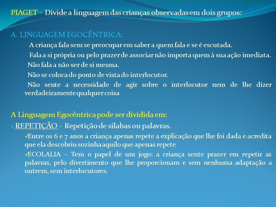 PIAGET – Divide a linguagem das crianças observadas em dois grupos: A.