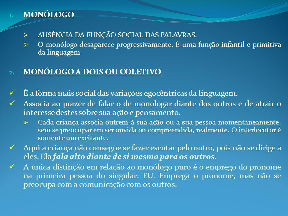 1.MONÓLOGO  AUSÊNCIA DA FUNÇÃO SOCIAL DAS PALAVRAS.