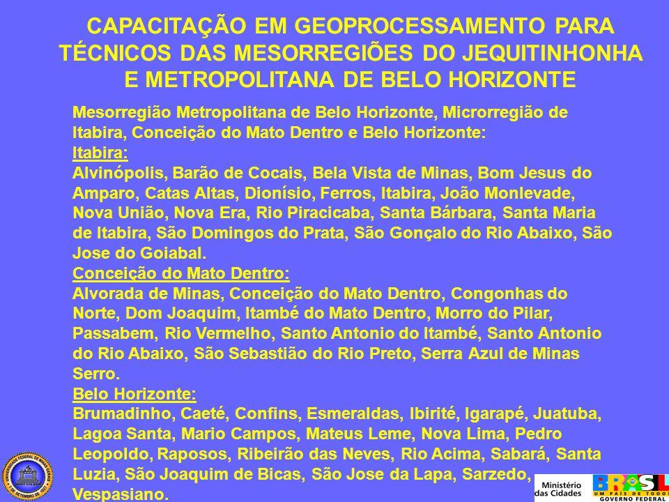 Mesorregião Metropolitana de Belo Horizonte, Microrregião de Itabira, Conceição do Mato Dentro e Belo Horizonte: Itabira: Alvinópolis, Barão de Cocais