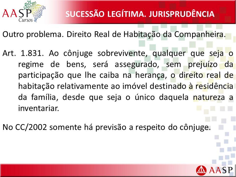 SUCESSÃO LEGÍTIMA.JURISPRUDÊNCIA Outro problema. Direito Real de Habitação da Companheira.