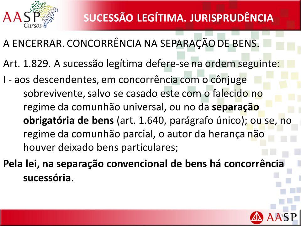 SUCESSÃO LEGÍTIMA.JURISPRUDÊNCIA A ENCERRAR. CONCORRÊNCIA NA SEPARAÇÃO DE BENS.