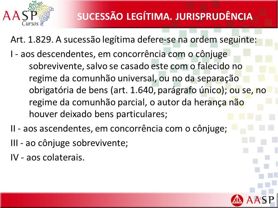 SUCESSÃO LEGÍTIMA.JURISPRUDÊNCIA Art. 1.829.