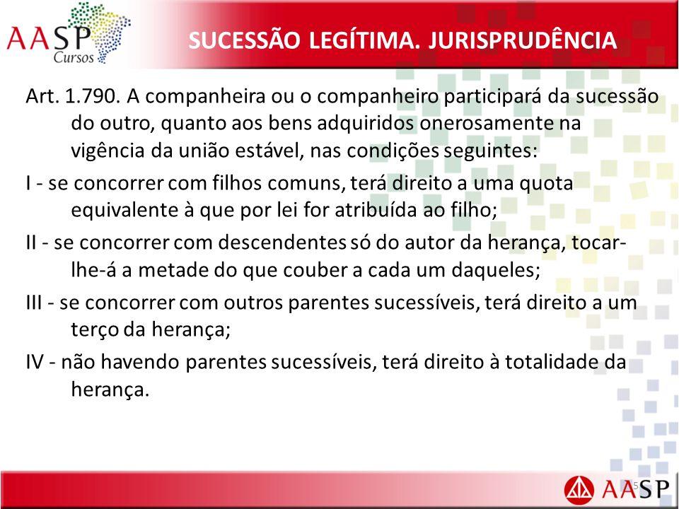 SUCESSÃO LEGÍTIMA.JURISPRUDÊNCIA Art. 1.790.
