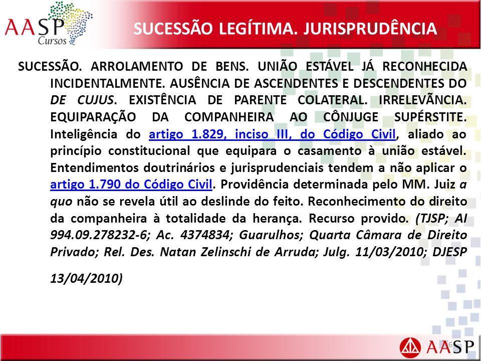 SUCESSÃO LEGÍTIMA.JURISPRUDÊNCIA SUCESSÃO. ARROLAMENTO DE BENS.