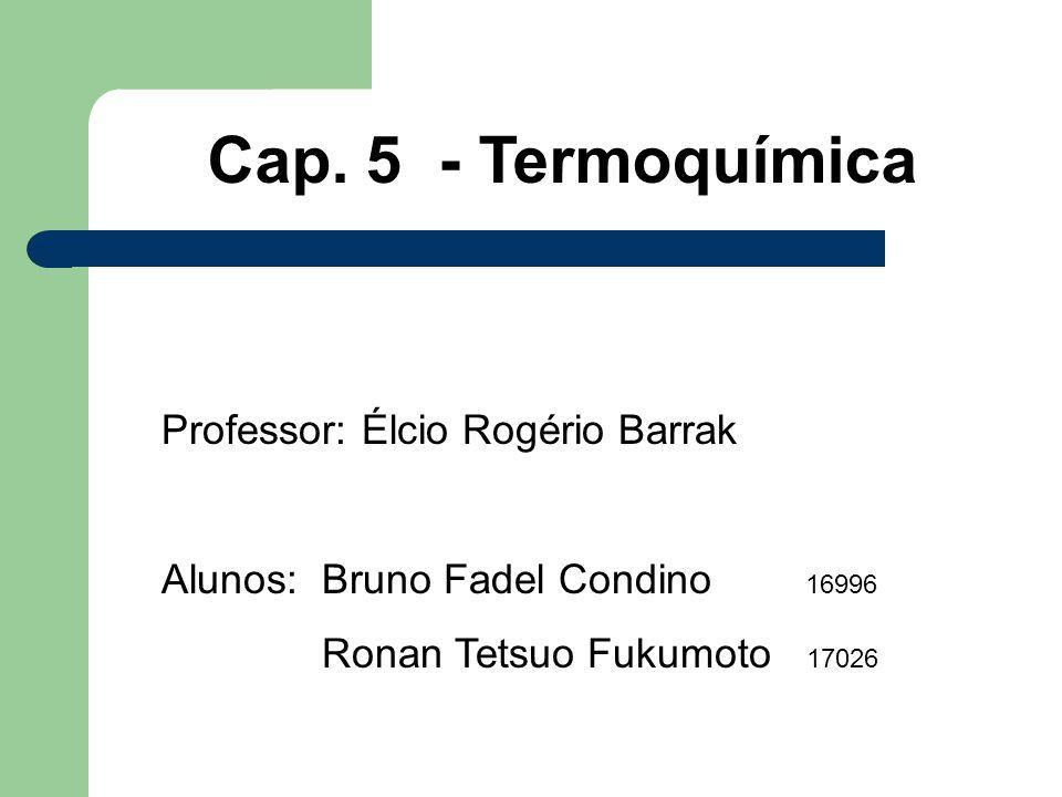 Cap. 5 - Termoquímica Professor: Élcio Rogério Barrak Alunos: Bruno Fadel Condino 16996 Ronan Tetsuo Fukumoto 17026