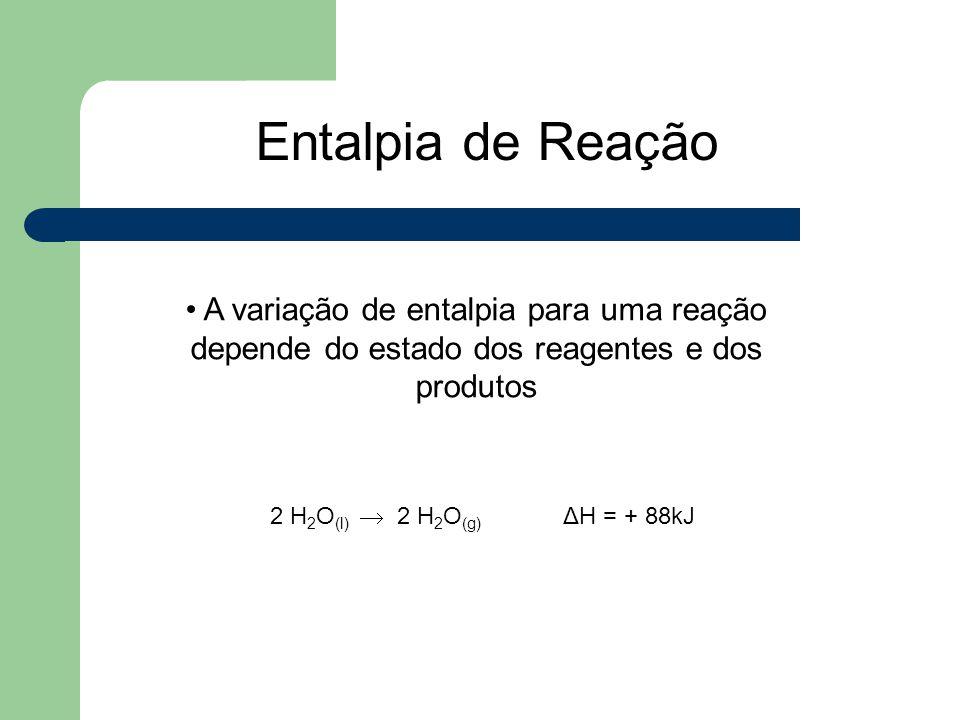 A variação de entalpia para uma reação depende do estado dos reagentes e dos produtos 2 H 2 O (l)  2 H 2 O (g) ΔH = + 88kJ Entalpia de Reação