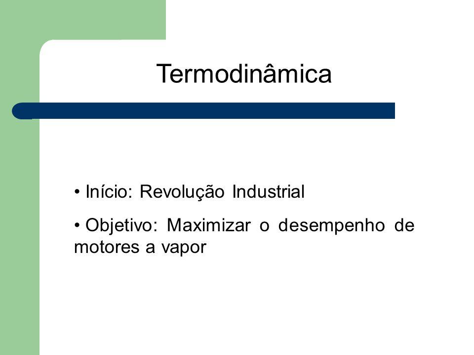 Termodinâmica Início: Revolução Industrial Objetivo: Maximizar o desempenho de motores a vapor