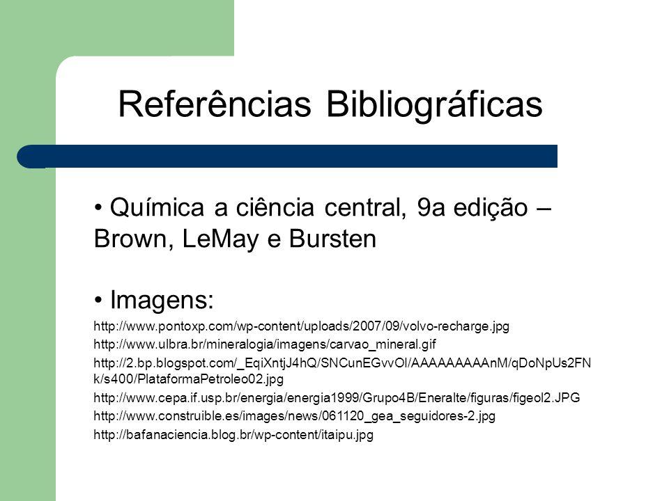 Referências Bibliográficas Química a ciência central, 9a edição – Brown, LeMay e Bursten Imagens: http://www.pontoxp.com/wp-content/uploads/2007/09/vo