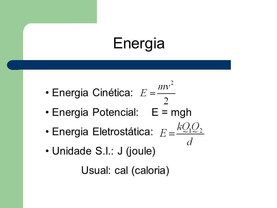 Energia Energia Cinética: Energia Potencial: E = mgh Energia Eletrostática: Unidade S.I.: J (joule) Usual: cal (caloria)