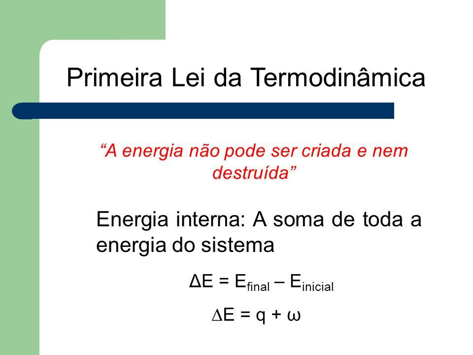 """Primeira Lei da Termodinâmica """"A energia não pode ser criada e nem destruída"""" Energia interna: A soma de toda a energia do sistema ΔE = E final – E in"""