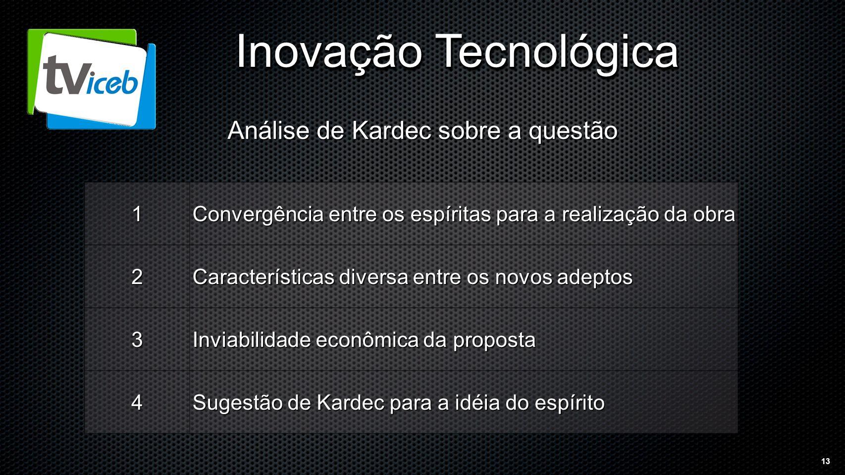 13 Inovação Tecnológica 1 Convergência entre os espíritas para a realização da obra 2 Características diversa entre os novos adeptos 3 Inviabilidade econômica da proposta 4 Sugestão de Kardec para a idéia do espírito Análise de Kardec sobre a questão