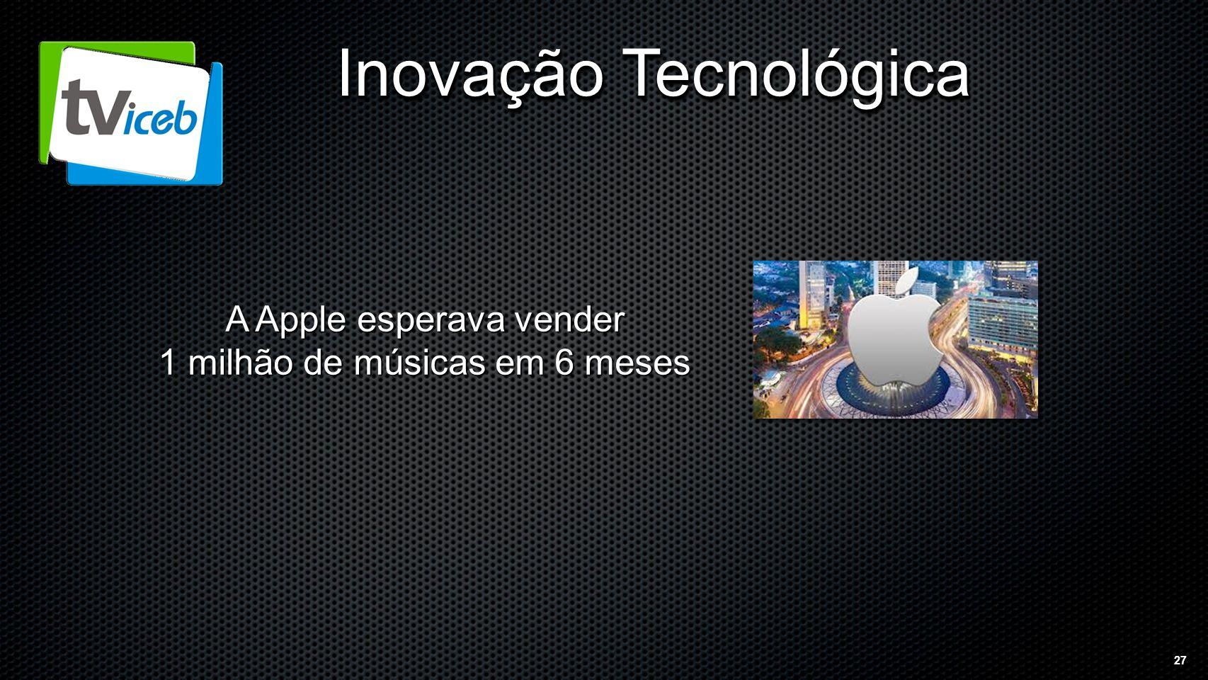 27 Inovação Tecnológica A Apple esperava vender 1 milhão de músicas em 6 meses