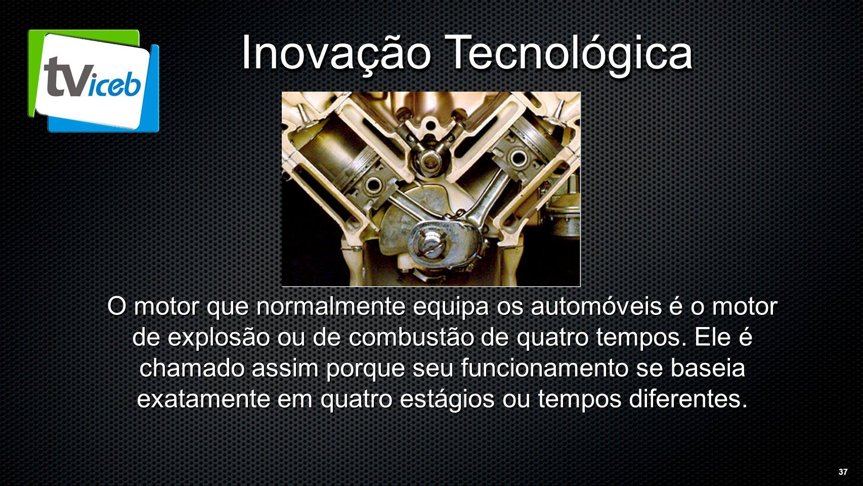 37 Inovação Tecnológica O motor que normalmente equipa os automóveis é o motor de explosão ou de combustão de quatro tempos.