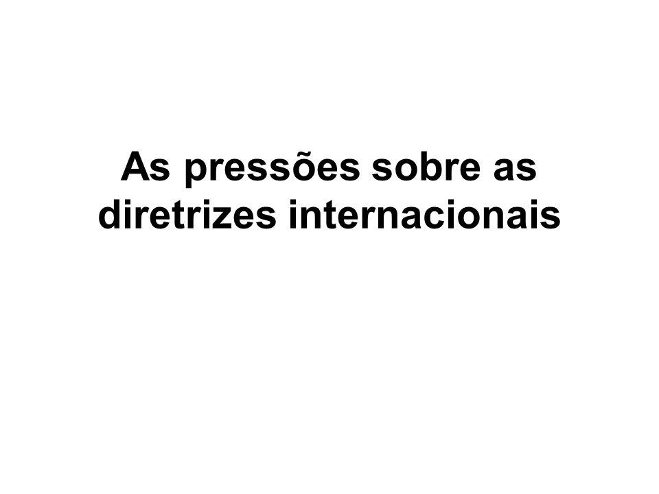 As pressões sobre as diretrizes internacionais