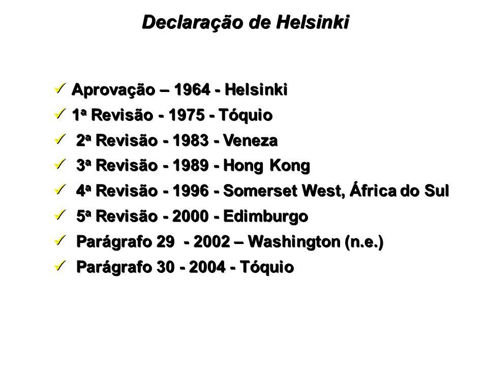 Aprovação – 1964 - Helsinki 1 a Revisão - 1975 - Tóquio 2 a Revisão - 1983 - Veneza 3 a Revisão - 1989 - Hong Kong 4 a Revisão - 1996 - Somerset West, África do Sul 5 a Revisão - 2000 - Edimburgo Parágrafo 29 - 2002 – Washington (n.e.) Parágrafo 30 - 2004 - Tóquio Aprovação – 1964 - Helsinki 1 a Revisão - 1975 - Tóquio 2 a Revisão - 1983 - Veneza 3 a Revisão - 1989 - Hong Kong 4 a Revisão - 1996 - Somerset West, África do Sul 5 a Revisão - 2000 - Edimburgo Parágrafo 29 - 2002 – Washington (n.e.) Parágrafo 30 - 2004 - Tóquio Declaração de Helsinki