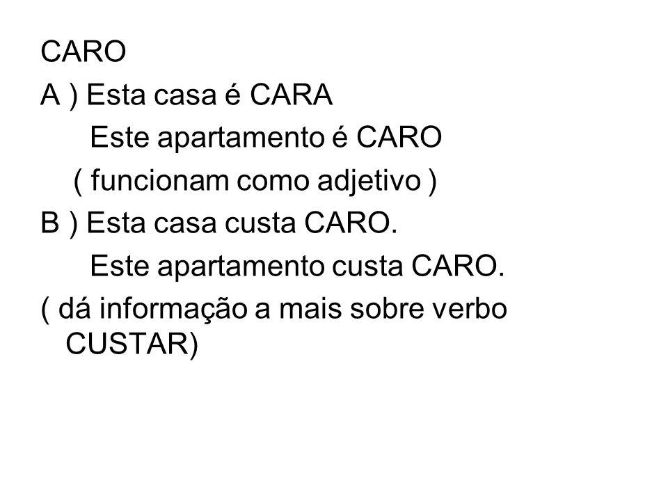 CARO A ) Esta casa é CARA Este apartamento é CARO ( funcionam como adjetivo ) B ) Esta casa custa CARO. Este apartamento custa CARO. ( dá informação a