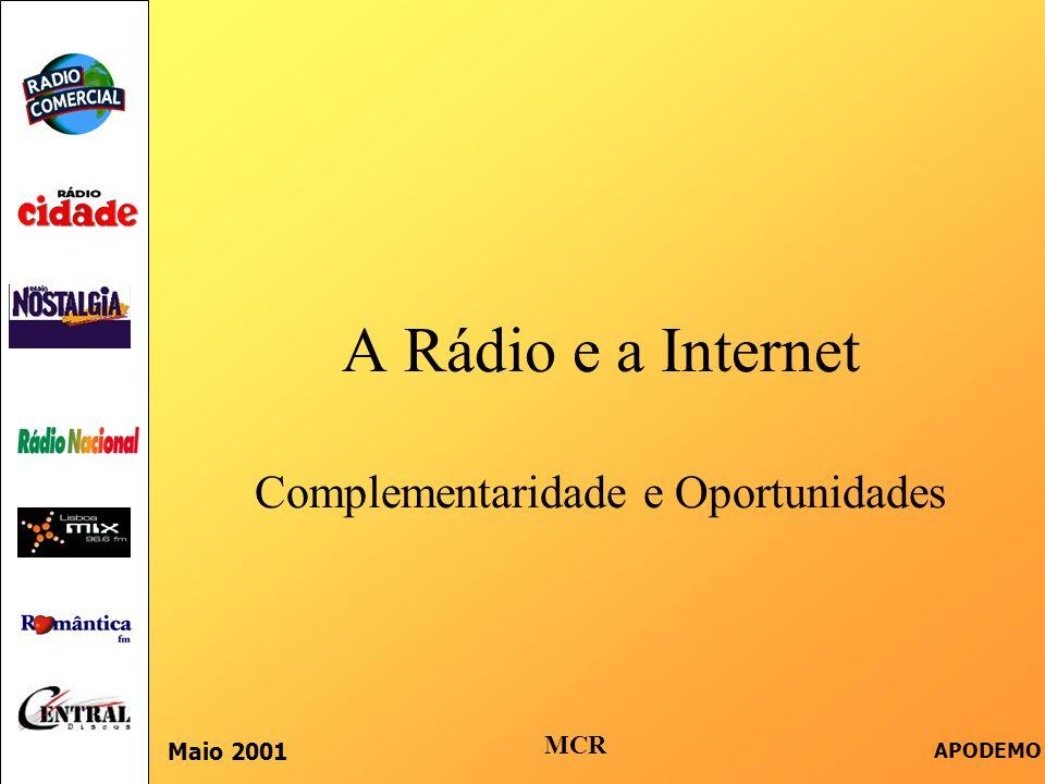  Introdução  Os Mecanismos das e-Marcas  Desafios das e-Marcas  A Rádio – Características e Benefícios  Funções Estratégicas Para a Publicidade em Rádio  O Site da Comercial  Complementaridade Rádio e Internet Indíce Maio 2001 APODEMO MCR