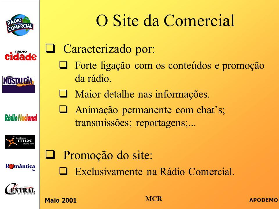 O Site da Comercial Maio 2001 APODEMO  Caracterizado por:  Forte ligação com os conteúdos e promoção da rádio.  Maior detalhe nas informações.  An