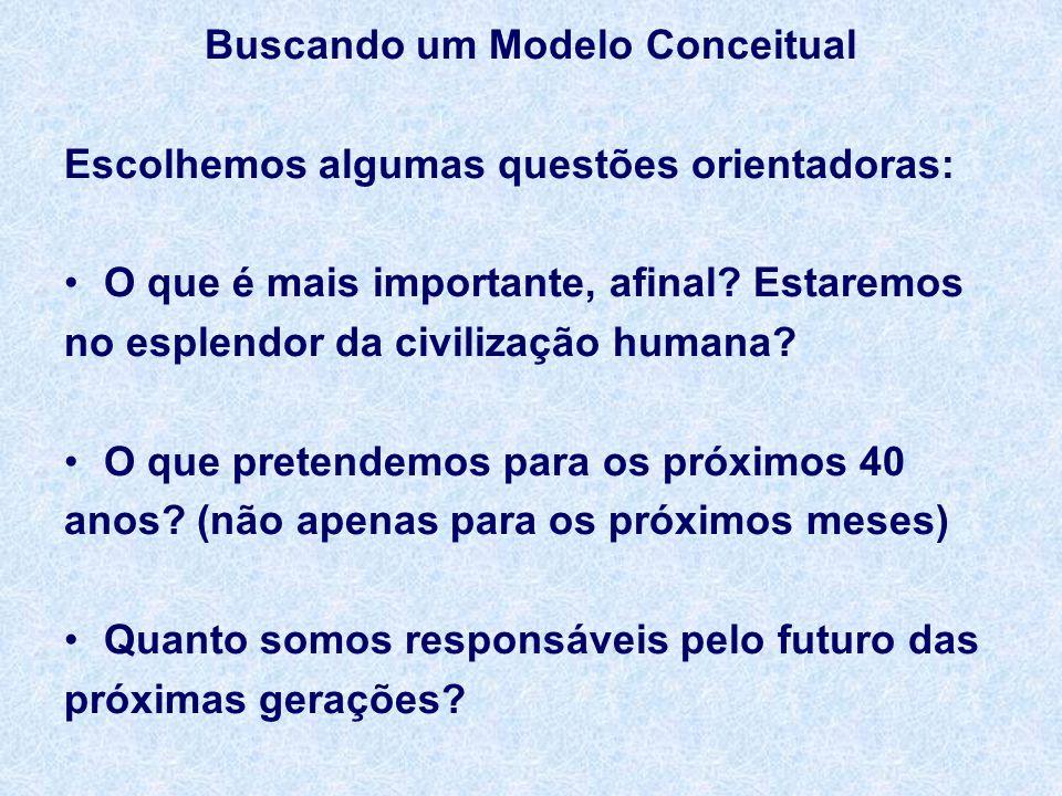 Buscando um Modelo Conceitual Escolhemos algumas questões orientadoras: O que é mais importante, afinal.