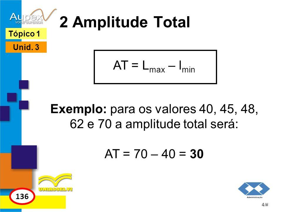 2 Amplitude Total AT = L max – l min Exemplo: para os valores 40, 45, 48, 62 e 70 a amplitude total será: AT = 70 – 40 = 30 4/# Tópico 1 136 Unid. 3