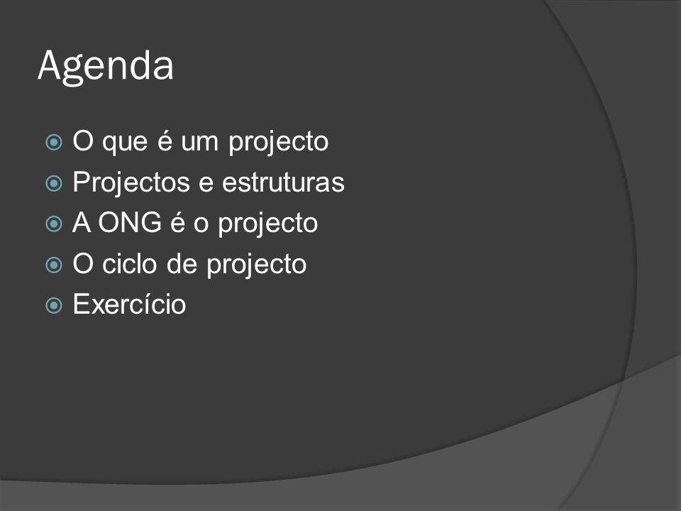 Agenda  O que é um projecto  Projectos e estruturas  A ONG é o projecto  O ciclo de projecto  Exercício