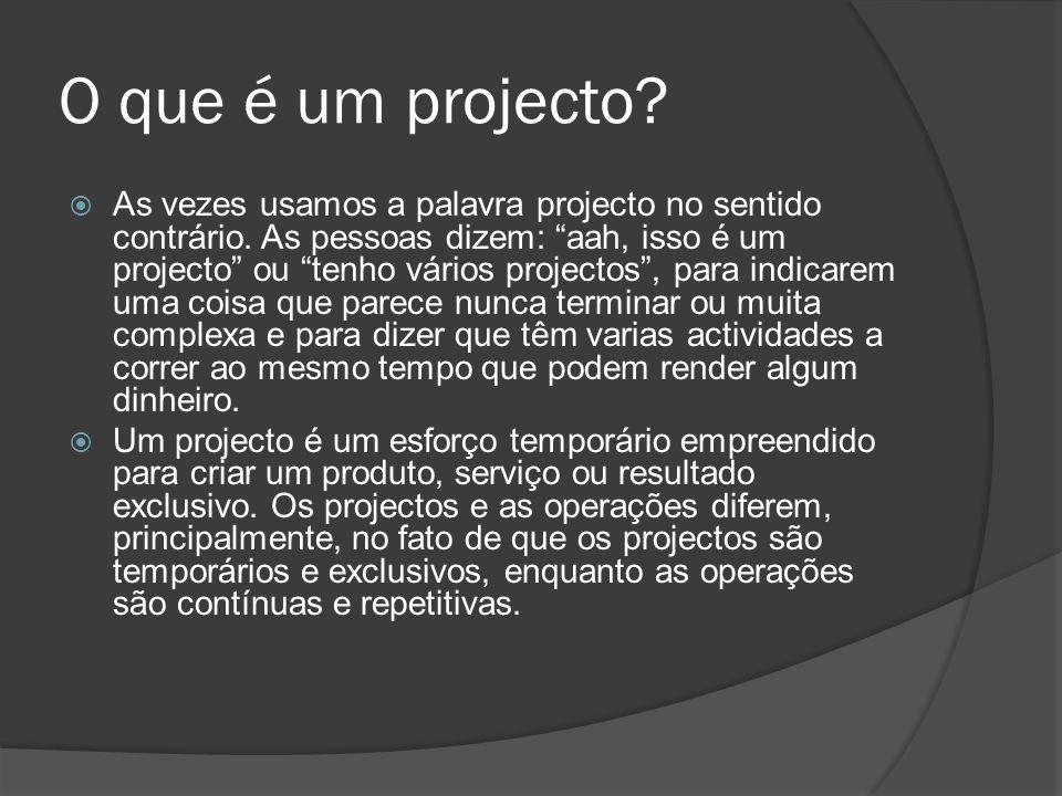 O que é um projecto.  As vezes usamos a palavra projecto no sentido contrário.