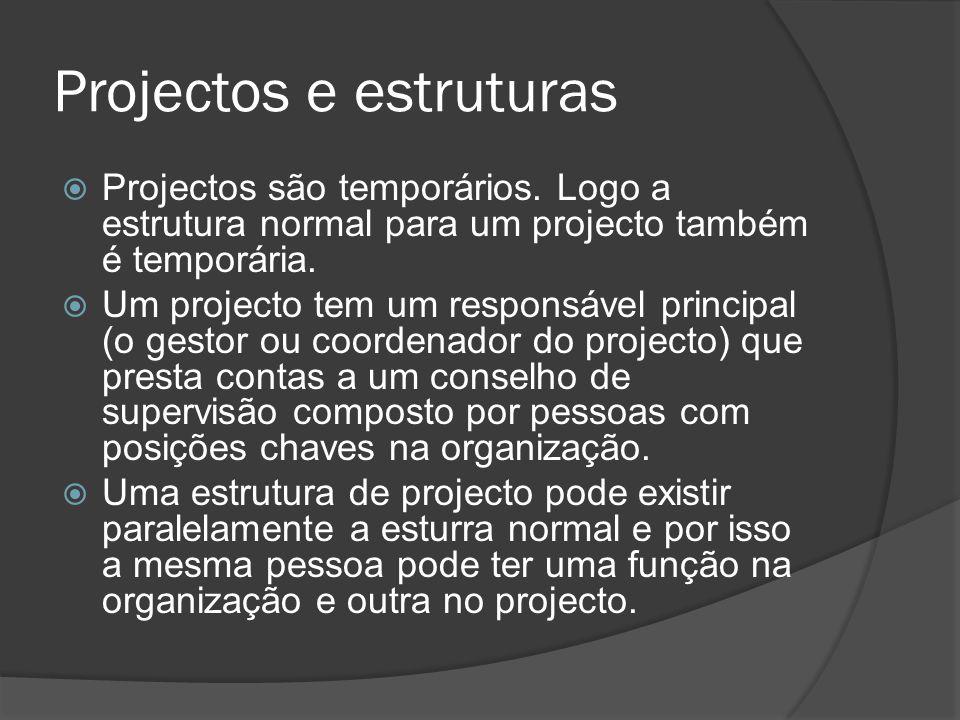 Projectos e estruturas  Projectos são temporários.