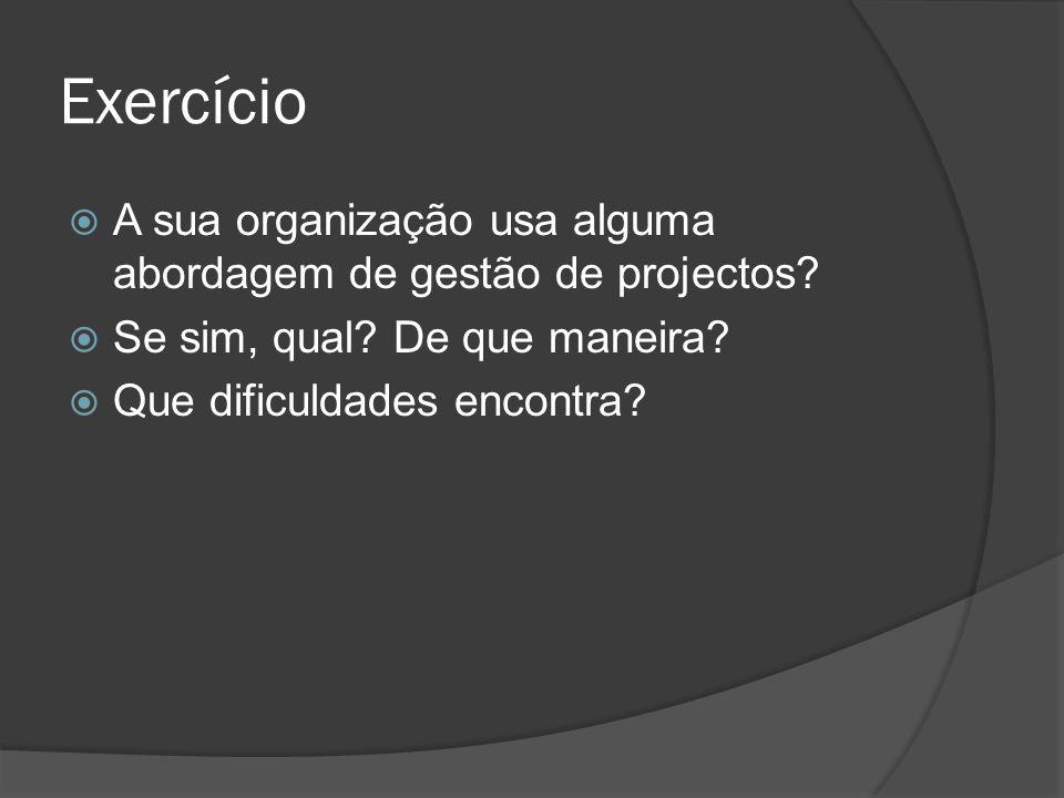 Exercício  A sua organização usa alguma abordagem de gestão de projectos.