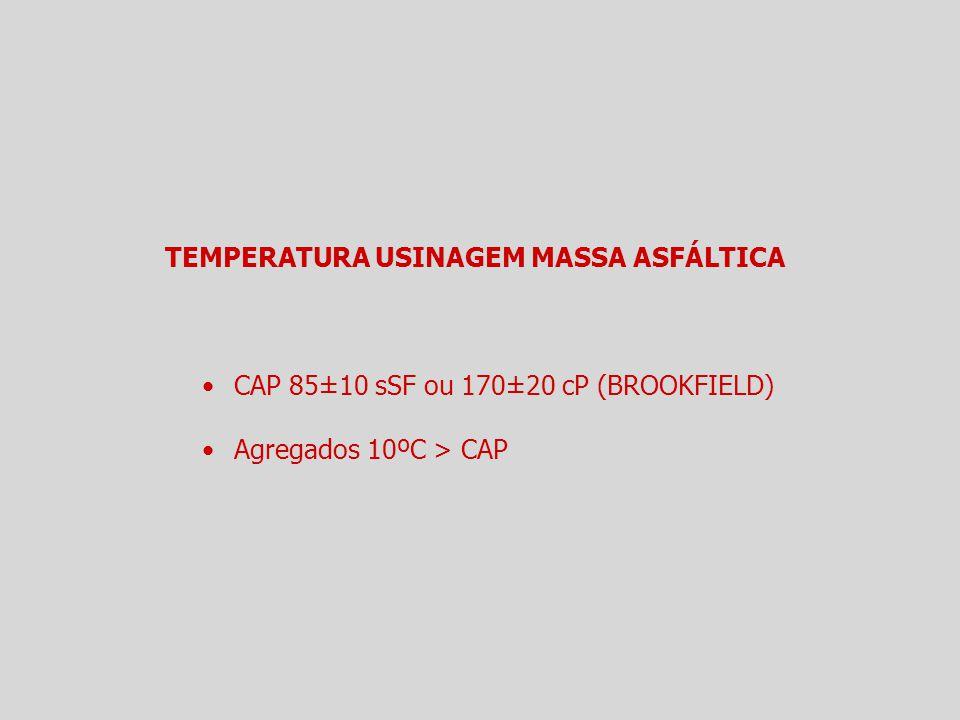 TEMPERATURA USINAGEM MASSA ASFÁLTICA CAP 85±10 sSF ou 170±20 cP (BROOKFIELD) Agregados 10ºC > CAP