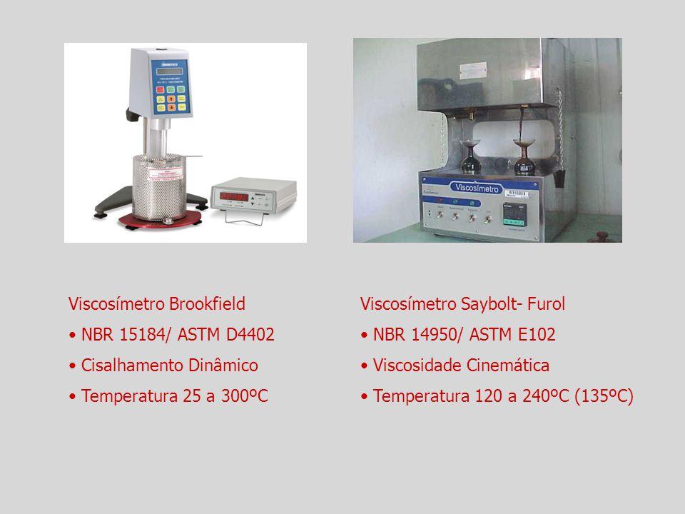 Viscosímetro Brookfield NBR 15184/ ASTM D4402 Cisalhamento Dinâmico Temperatura 25 a 300ºC Viscosímetro Saybolt- Furol NBR 14950/ ASTM E102 Viscosidad