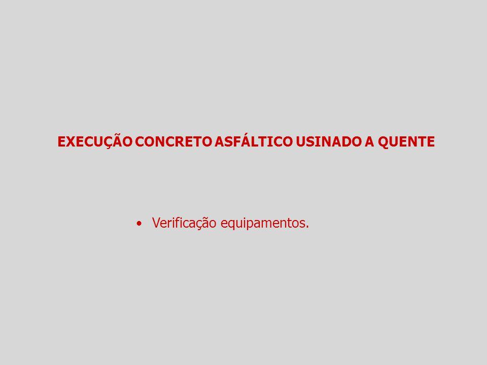 EXECUÇÃO CONCRETO ASFÁLTICO USINADO A QUENTE Verificação equipamentos.