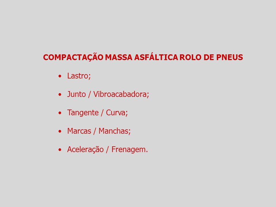 COMPACTAÇÃO MASSA ASFÁLTICA ROLO DE PNEUS Lastro; Junto / Vibroacabadora; Tangente / Curva; Marcas / Manchas; Aceleração / Frenagem.