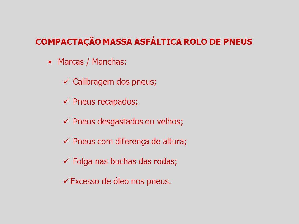 COMPACTAÇÃO MASSA ASFÁLTICA ROLO DE PNEUS Marcas / Manchas: Calibragem dos pneus; Pneus recapados; Pneus desgastados ou velhos; Pneus com diferença de