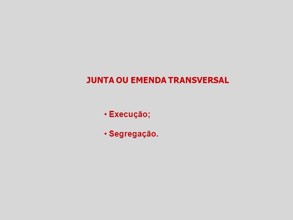 JUNTA OU EMENDA TRANSVERSAL Execução; Segregação.