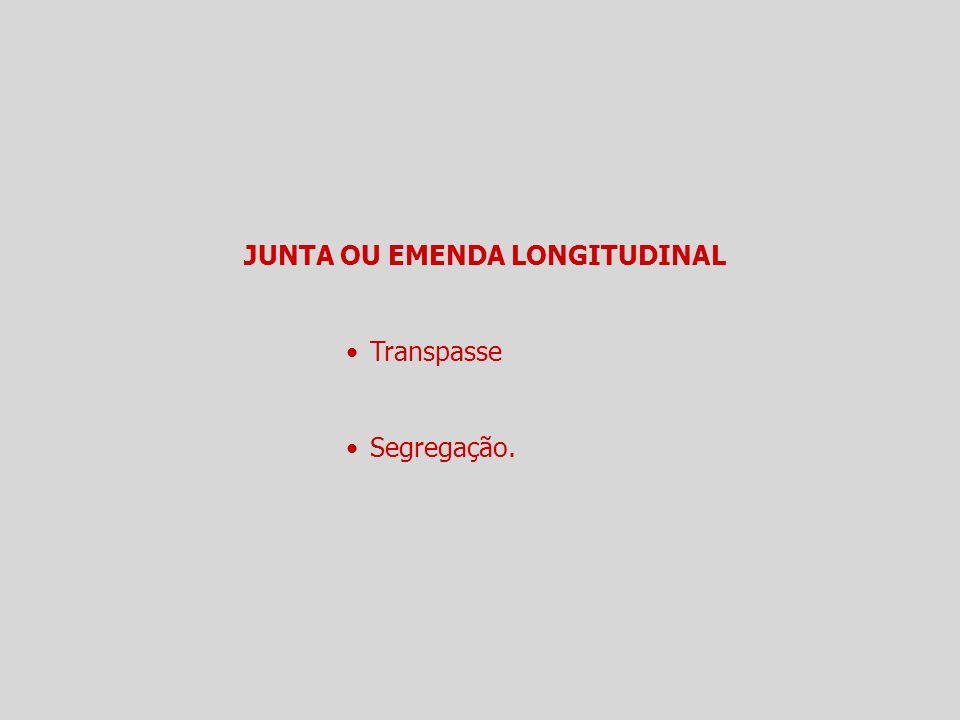 JUNTA OU EMENDA LONGITUDINAL Transpasse Segregação.