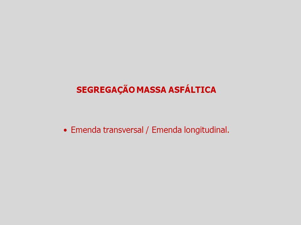 SEGREGAÇÃO MASSA ASFÁLTICA Emenda transversal / Emenda longitudinal.