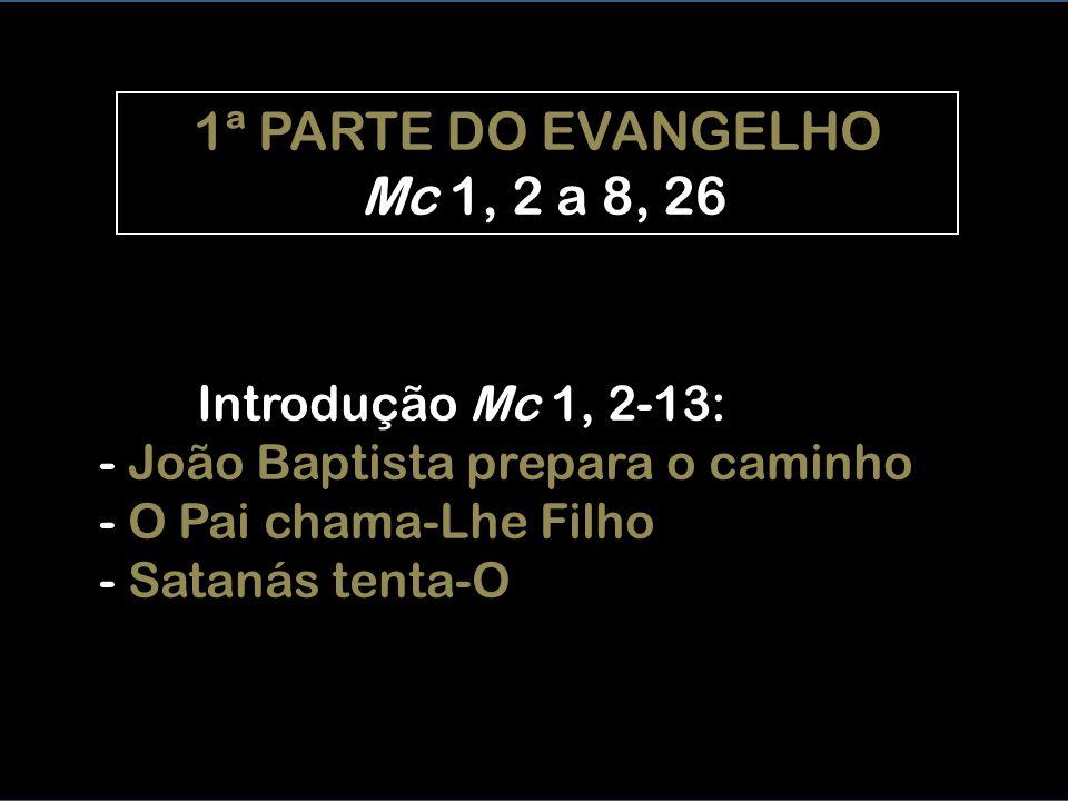 Introdução Mc 1, 2-13: - João Baptista prepara o caminho - O Pai chama-Lhe Filho - Satanás tenta-O 1ª PARTE DO EVANGELHO Mc 1, 2 a 8, 26