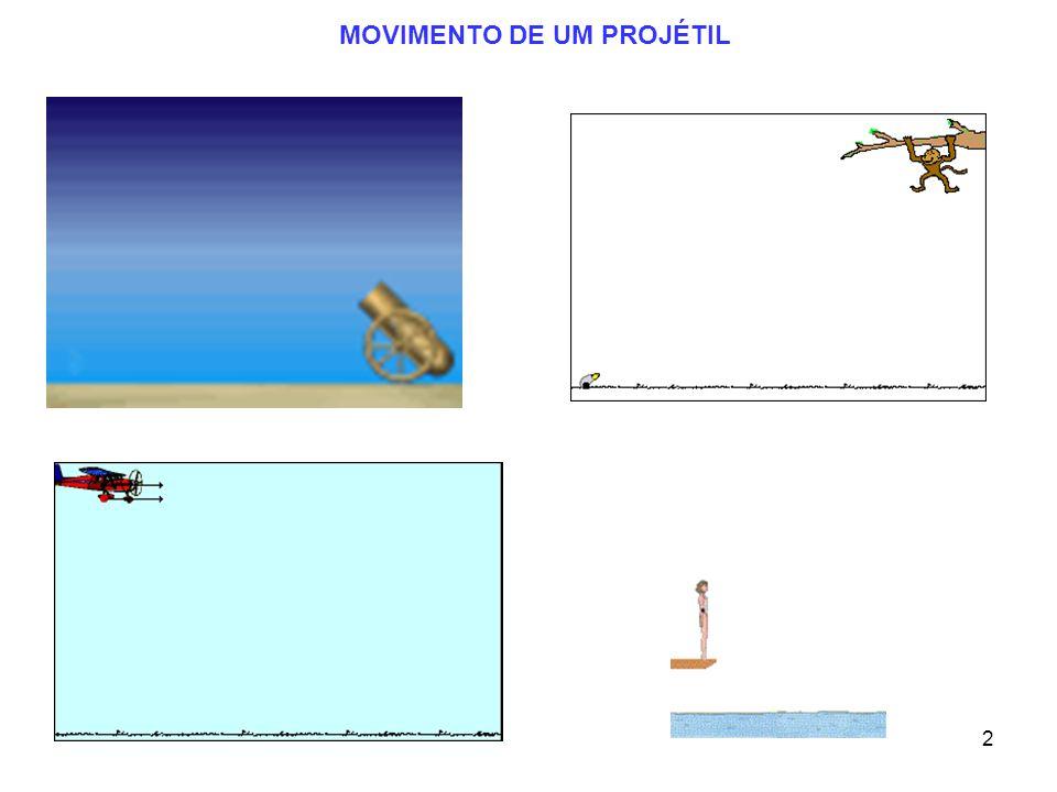 22 Examplo 5 (Cont.) v = 10 m/s  =31 0 x = v x t; t = 1.12 s v ox = 10 cos 31 0 v oy = 10 sin 31 0 x = (9.53 m/s)(1.12 s) = 10.7 m Alcance do cão: v x =v ox = 9.53 m/s A velocidade horizontal é constante Assim: O alcance é x = 10.7 m