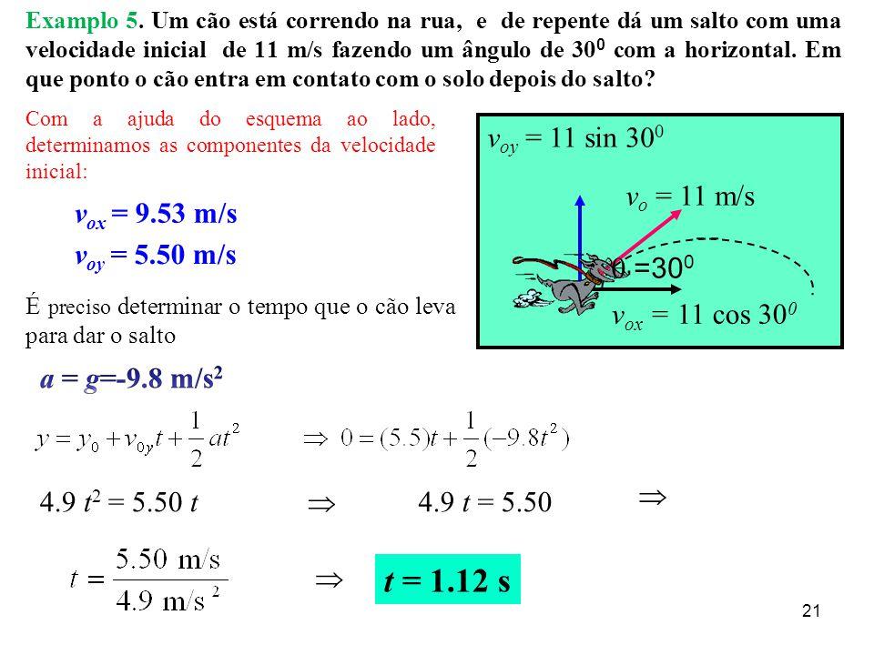20 Exemplo 4: ALCANCE PARA OS ÂNGULOS DE 30 , 45 , 60 