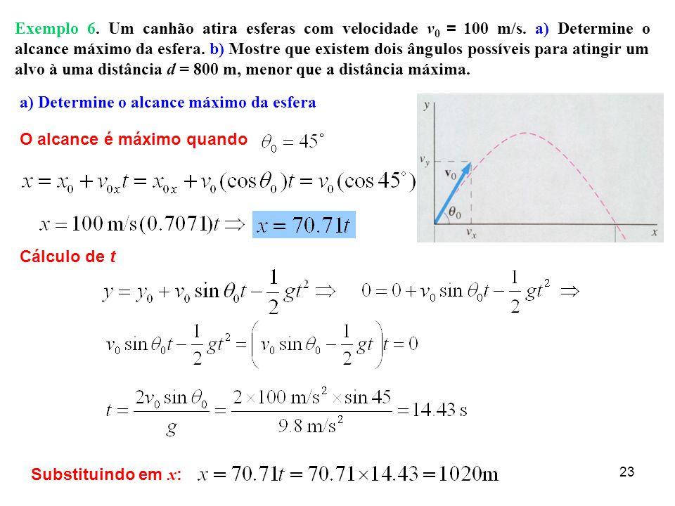 22 Examplo 5 (Cont.) v = 10 m/s  =31 0 x = v x t; t = 1.12 s v ox = 10 cos 31 0 v oy = 10 sin 31 0 x = (9.53 m/s)(1.12 s) = 10.7 m Alcance do cão: v