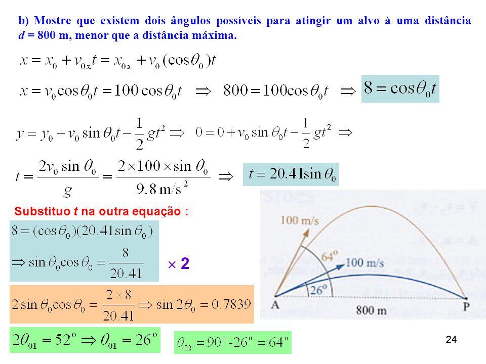 Exemplo 6. Um canhão atira esferas com velocidade v 0 = 100 m/s. a) Determine o alcance máximo da esfera. b) Mostre que existem dois ângulos possíveis