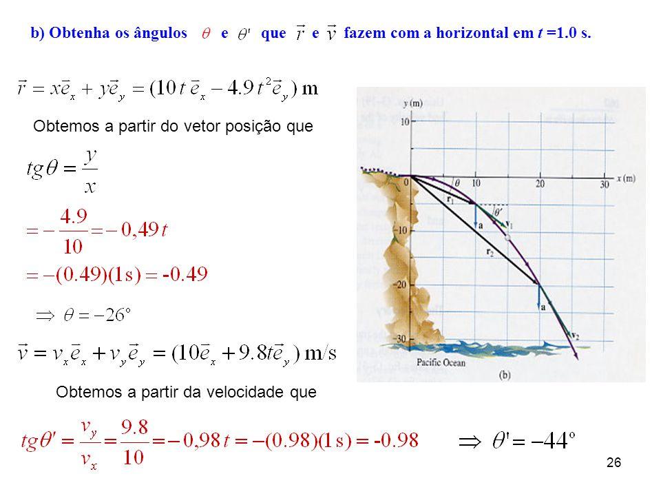 25 Exemplo 7. Uma pedra cai dum penhasco com velocidade v = 10 m/s na horizontal. a) Descreva o movimento, ou seja, determine v x (t), v y (t), x(t) e