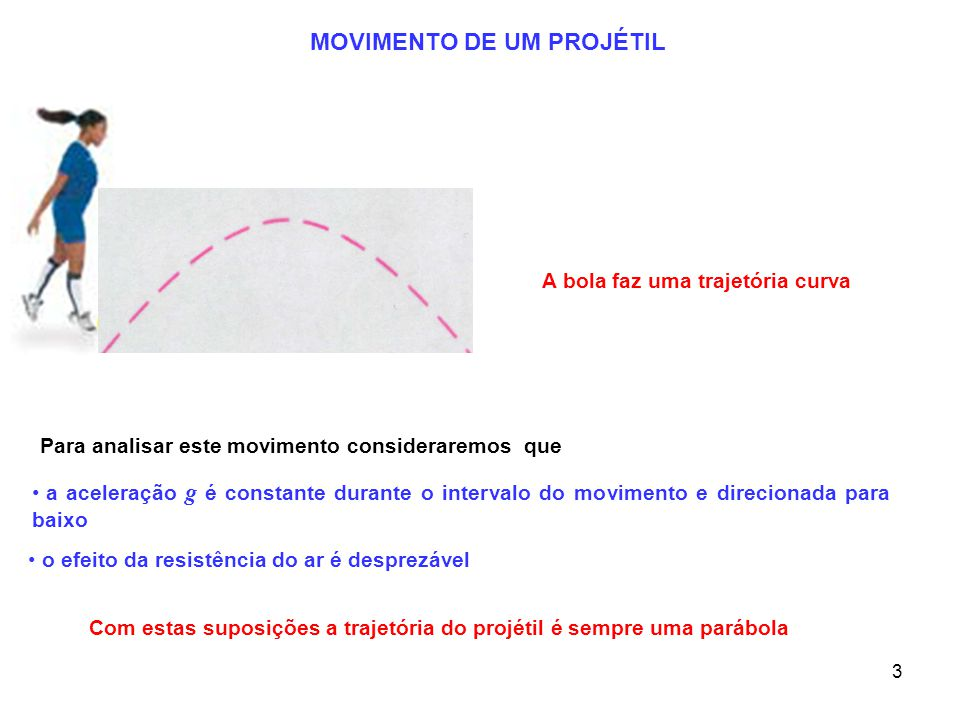 3 A bola faz uma trajetória curva Para analisar este movimento consideraremos que a aceleração g é constante durante o intervalo do movimento e direcionada para baixo o efeito da resistência do ar é desprezável Com estas suposições a trajetória do projétil é sempre uma parábola