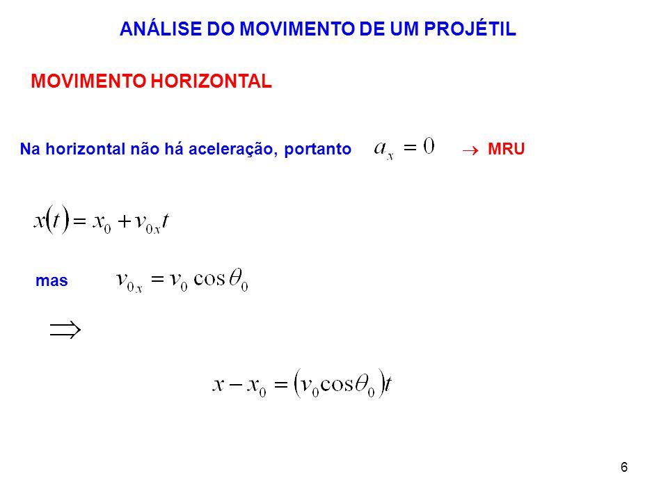 6 ANÁLISE DO MOVIMENTO DE UM PROJÉTIL MOVIMENTO HORIZONTAL Na horizontal não há aceleração, portanto mas  MRU